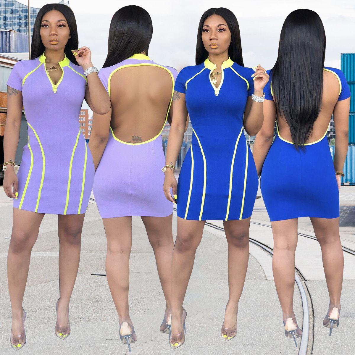 Las mujeres de la moda de espalda abierta bolso de la mujer falda de la cadera sexy slim 2 vestido de color vestidos casuales faldas de discoteca vestido sexy
