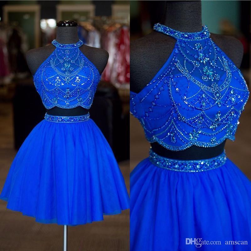 Los cristales azul real con cuentas Dos Piezas vestidos de baile 2020 de cóctel atractivo del partido Vestidos formales de barato a corto Mini vestido de regreso a casa vestido de fiesta