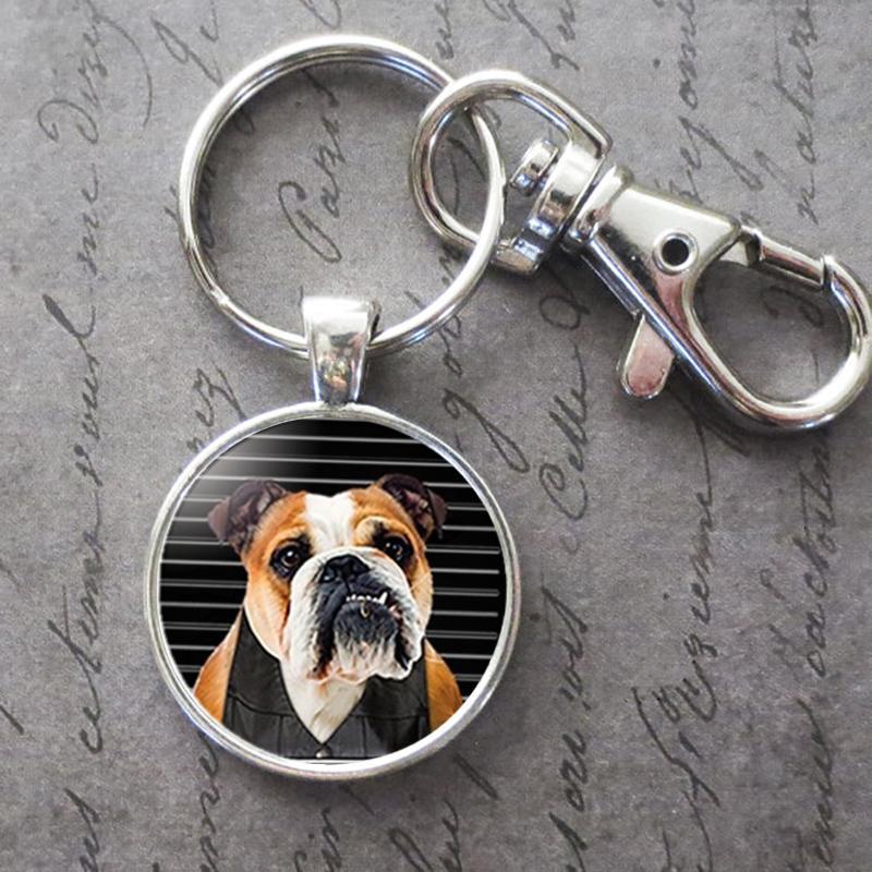 Pet Dog Бульдог Key Ring Key Chain животные Фото Ключ Пряжка Подвеска День рождение Фестиваль Anniversary подарок Ювелирных аксессуары