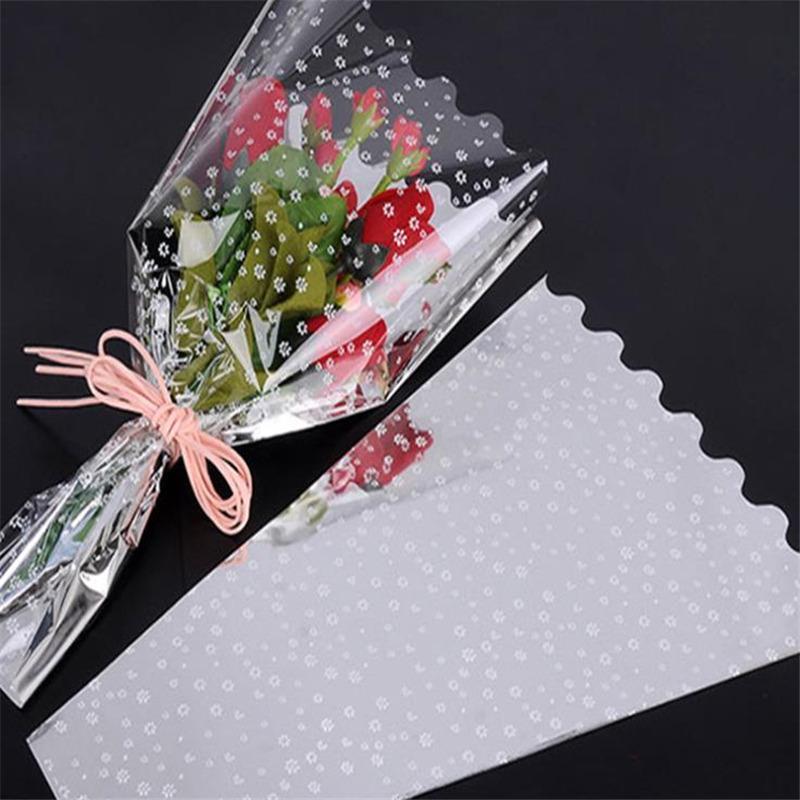 Bolsa de Plum Point plata de la luz multihaz ramo de flores del papel de embalaje de plástico OPP bolsa de la flor de Rose Embalaje decoración de la boda