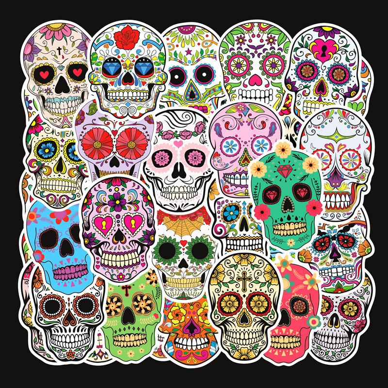50 unids lot Hot Magic Color Horror Skulls Impermeable PVC Pegatinas extraíbles Portátil Monopatín Equipaje Equipaje Coche Motocicleta Graffiti Pegatinas