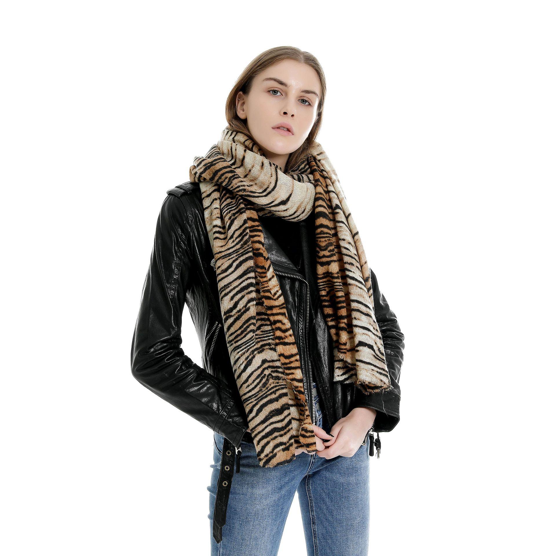 Amazon 2019 Herbst und Winter heiß neues Dual-Tiger-Streifen-Muster Kaschmir-Schal eine Generation von Fett