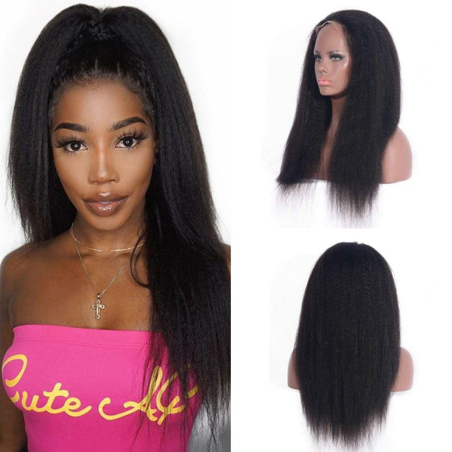 360 Kinky Straight Wigs Indian 360 Lace Frontal Wigs 130% Density Pre Plucked Human Hair Wigs For Black Women
