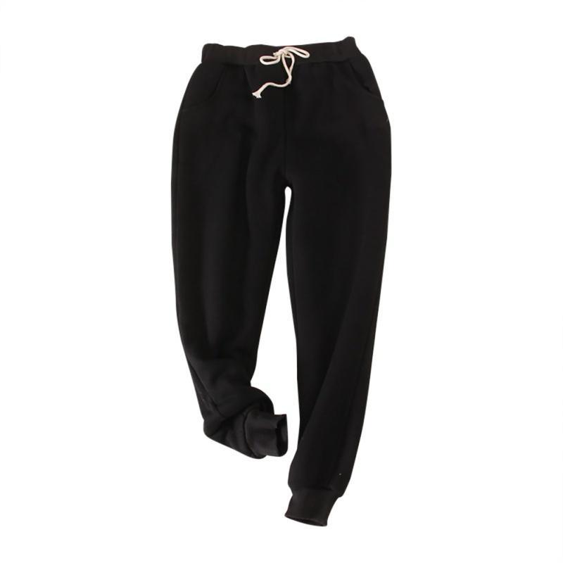 Kış Kaşmir Sıcak Harem Sweatpants Kadınlar Casual Büyük Beden Gevşek Artı Velevt Pantolon Sıcak Kalın Koyun Yün Pantolon T200407 Güz