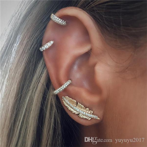 19-estilo de Bohemia del clip en los pendientes de la hoja de cristal círculo de la manera del color de oro del oído Cuff Mujeres cartílago del oído del abrigo earcuff pendientes Jewelr LXDZ03