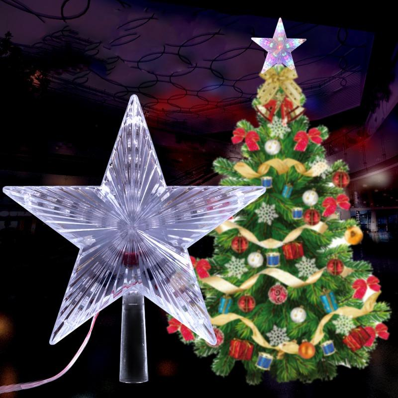 Árvore Árvore de Natal colorida Topper Decoração Festival Star Light Início Jardim LED Xmas Ornamentos Estrela decoração de Natal da lâmpada