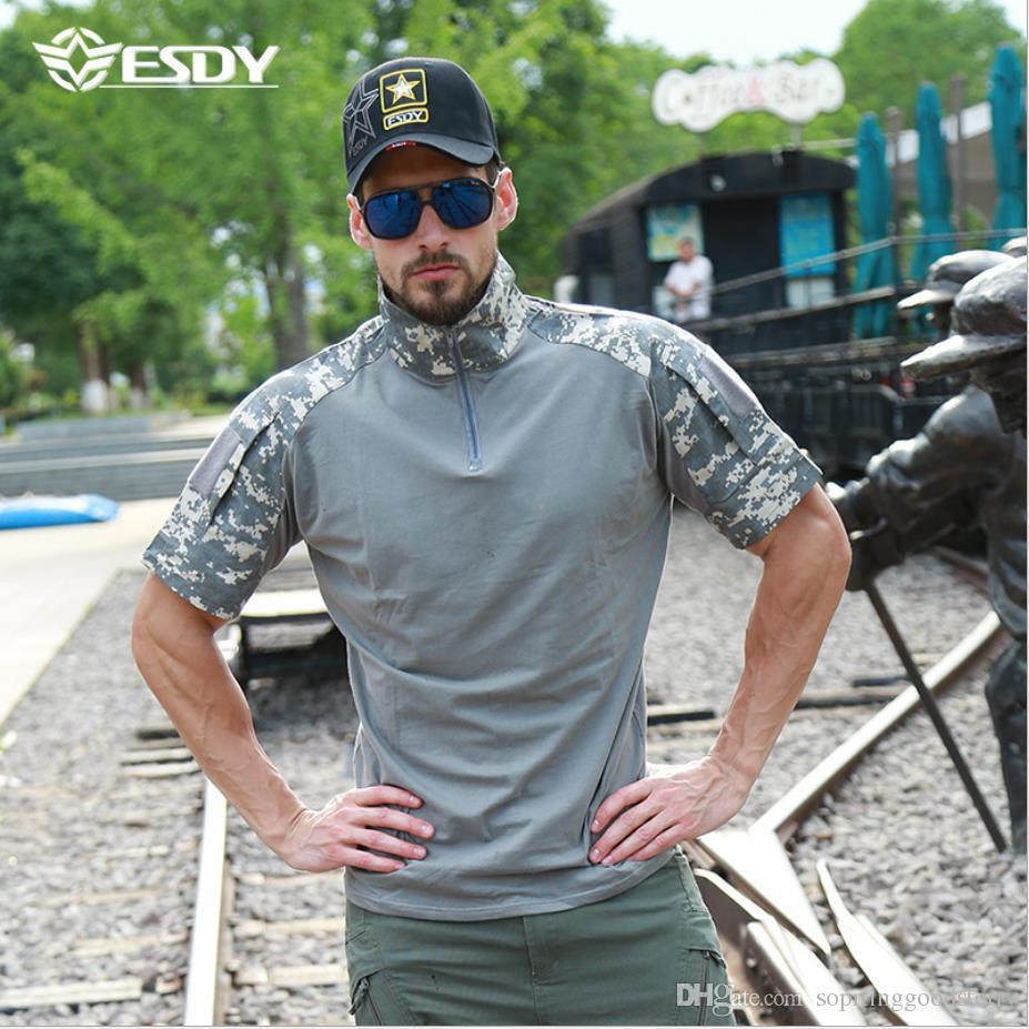 Ropa de ranas ESDY transfronteriza ropa de camuflaje que absorbe la humedad de manga corta ropa exterior de algodón camiseta de los hombres campamento de camino excursión verano