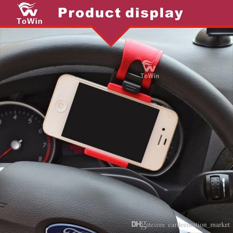 Araba Araç Direksiyon Cep Telefonu GPS Navigator Braketi Akıllı Klip Elastik Kauçuk Elektronik Ürünleri Tutucu Cep iphone samsung