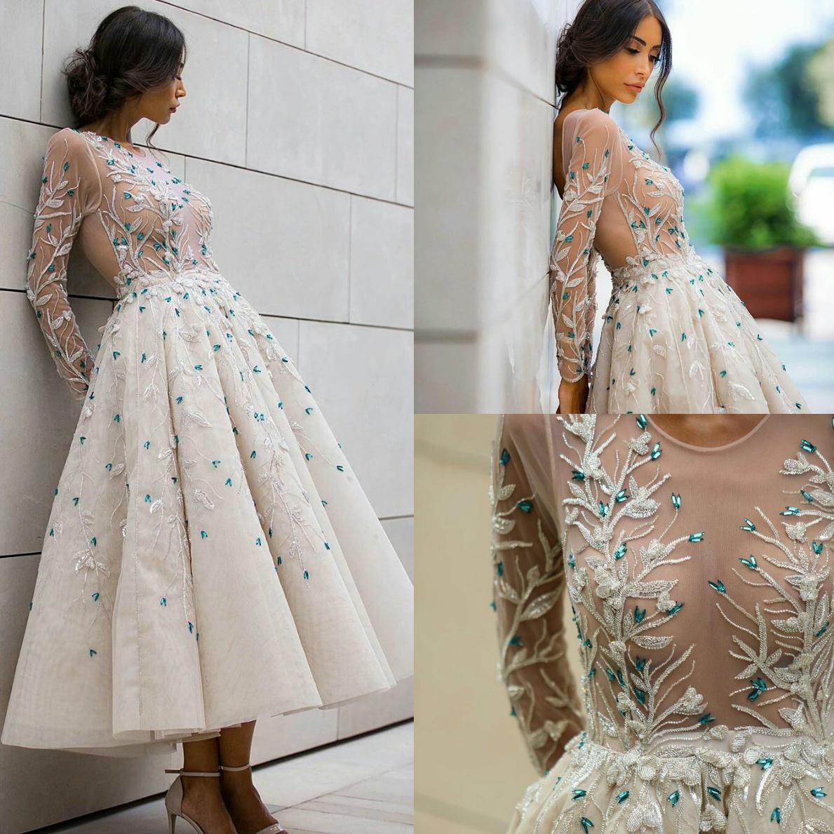 2020 Elie Saab See Through Short Prom Dresses Tea Length Embroidery Beaded Long Sleeve Evening Gowns Party Dress Vestidos Longo