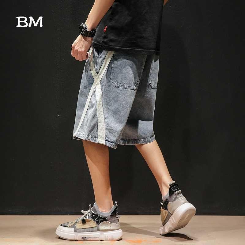 Verano japonés Streetwear pantalones cortos de mezclilla moda hombres Trajes de pantalón corto 2020 más el tamaño del estilo coreano flojo ocasional pantalones anchos masculinos