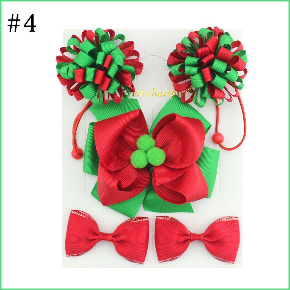 free shipping 5set hair clip set Cute Hair Accessories Girl round loopy elastic bands headwear Bow pompom Hairpin hair ring Elasti