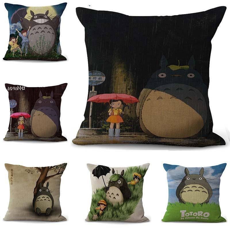 Cartoon totoro Pillowcase Bohemian bed animal Pillowcover Cotton Linen Ethnic car Pillow Cover Bedroom sofa Throw Cushion Pillow case
