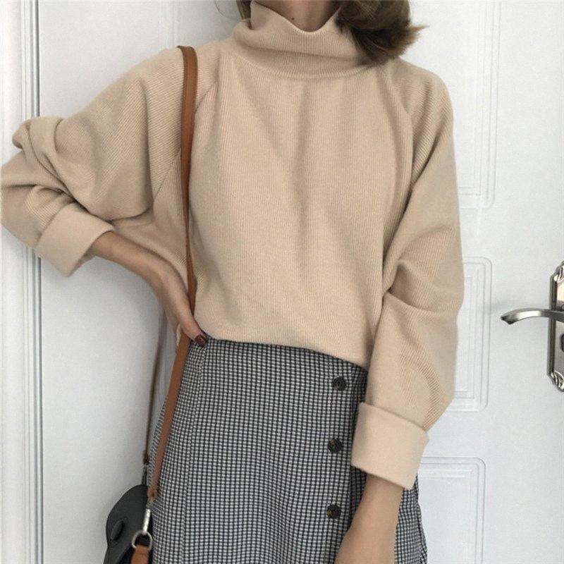 Tire Femme otoño mitad del cuello alto de manga larga con capucha suéter de las mujeres 2020 sólido de la manera suelta tapas de las mujeres Sueter Mujer GAOKE vJjS #