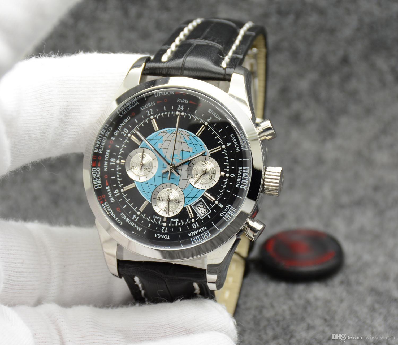 Homem transocego exterior assistir 44mm quartzo cronógrafo mens data relógios wrtistwatches mostrador preto com elástico preto