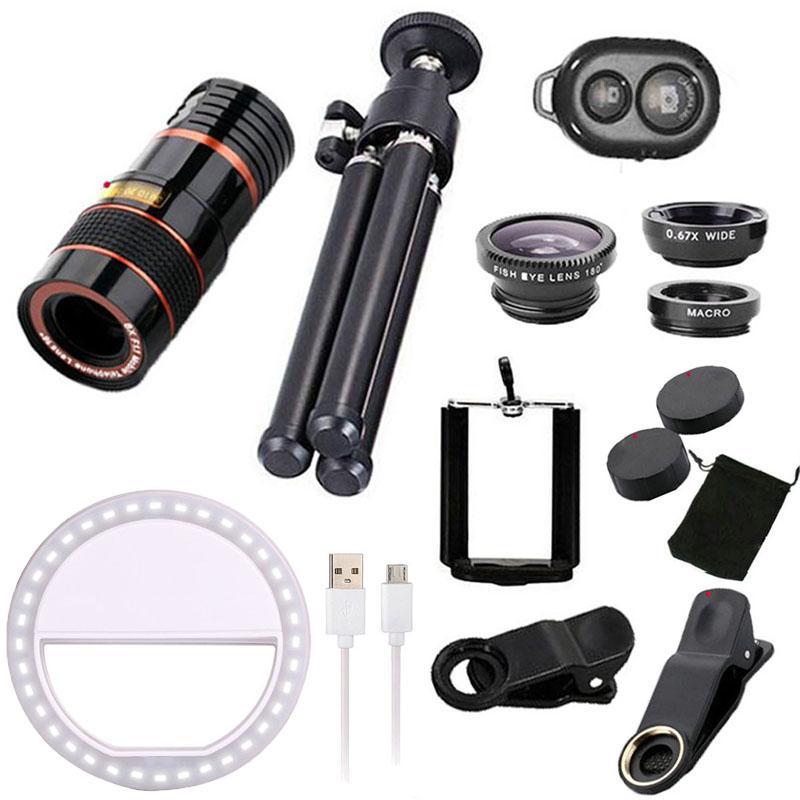 Girlwoman 9 in 1 Kits 12x Zoom Telephoto Lens Fish eye Lens Wide Angle Macro Lenses Cell Phone Mobile Tripod for xiaomi redmi