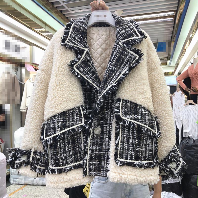 2019 Nueva abrigos de invierno de la solapa de la moda elegante de cordero Womans Chaqueta de lana suelta empalmado capa de la felpa algodón gruesa Parkas niñas chaquetas SH190926