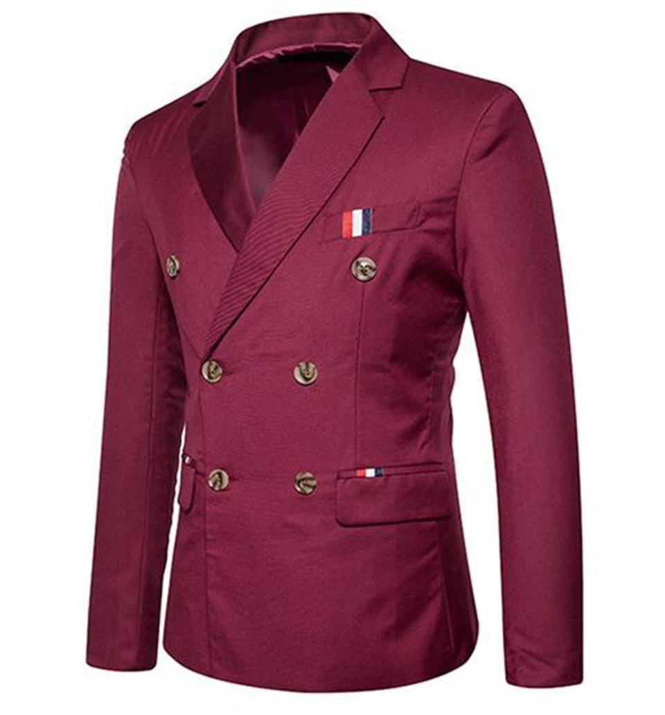 Men In The Spring And Autumn Pop Han Edition Fashion Boutique Wedding Dress Casual Double-breasted Suit Jacket/S - 2 Xl