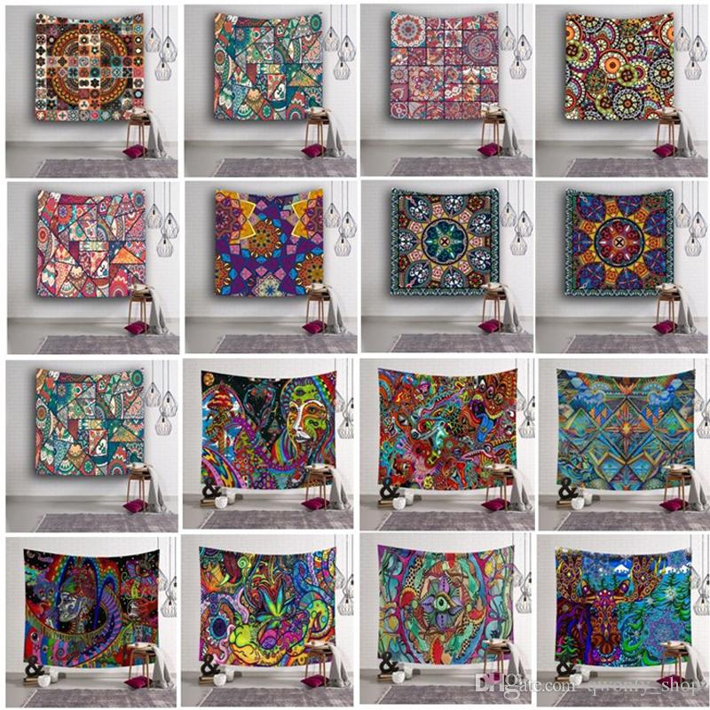 153*130cm Polyester Tapestry Flower Print Yoga Mat Picnic Blanket Printing Tapestry Hanging Wall Tapestry Home Décor 16 design