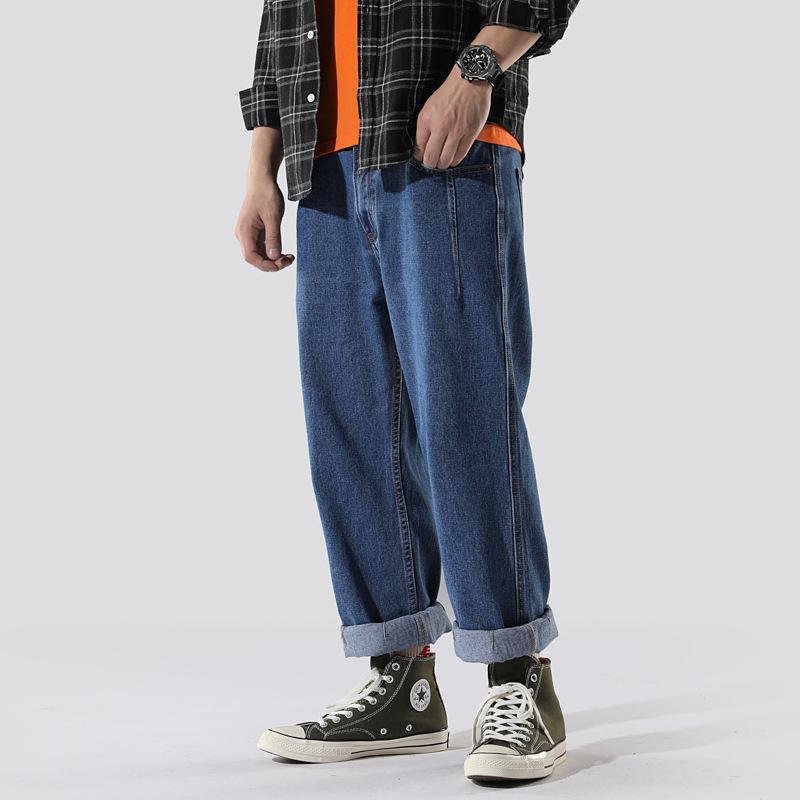 Invierno, Otoño, Nueva flojo japoneses hombres de los pantalones de la marca Tide hombres rectos de los pantalones vaqueros para hombre de estiramiento masculino elástico de algodón de mezclilla
