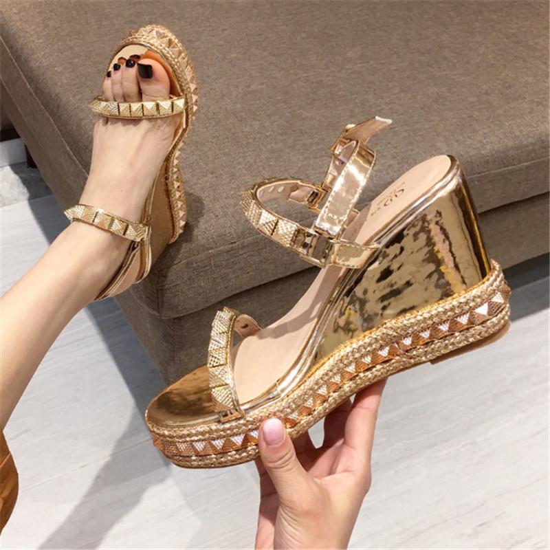 La cuña del negro mujeres de las sandalias de verano zapatos casuales Plataforma sandalias de tacón alto de las señoras zapatos cómodos