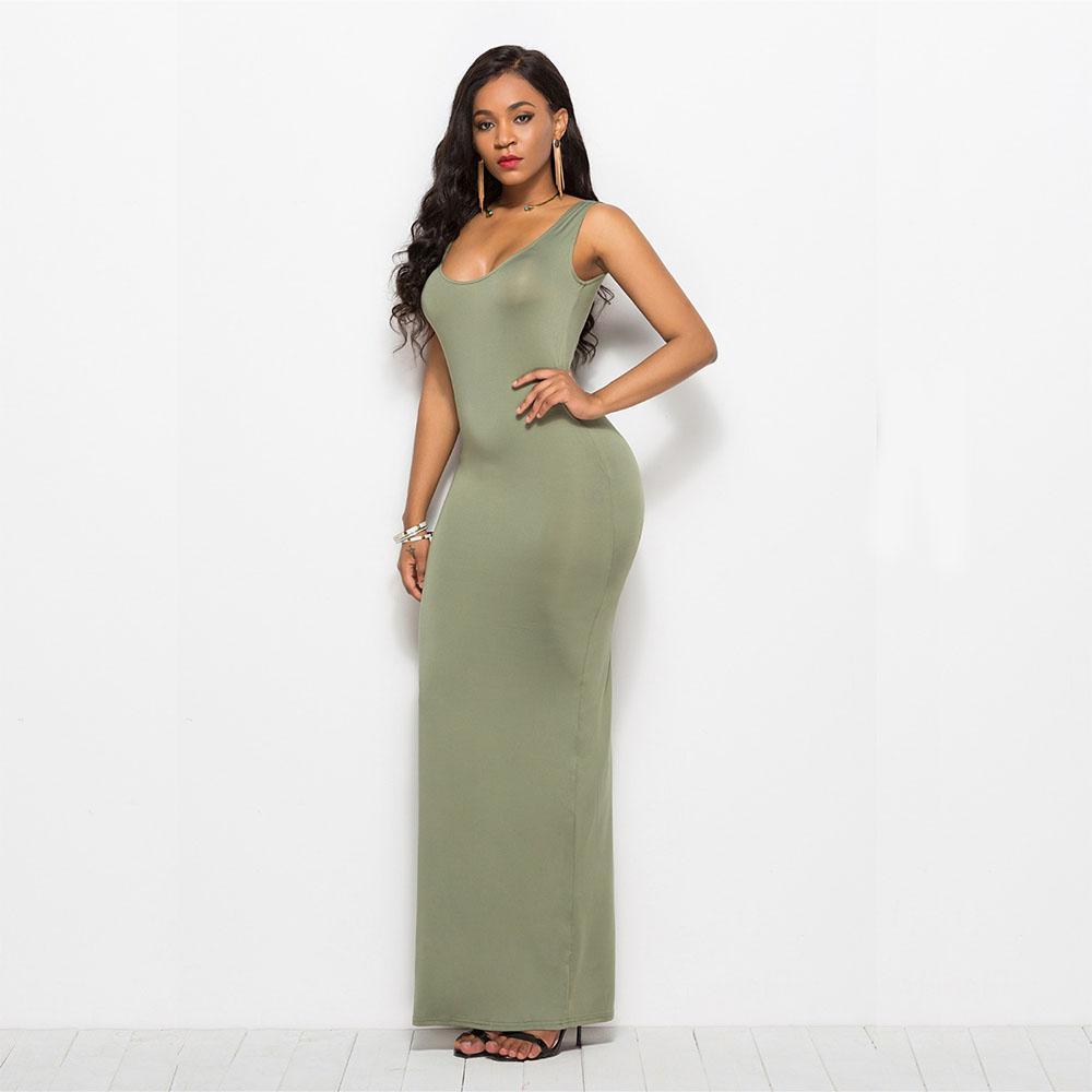Hohe Stretchtank Kleider Robe Sommer 2019 Elegante Frauen Sexy Kleid Oansatz Sleeveless Slim Maxi Kleid Lange Vestidos DCCEM