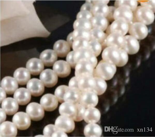 """7-8MM Natural White Akoya Cultured Pearl Loose Beads 15"""""""