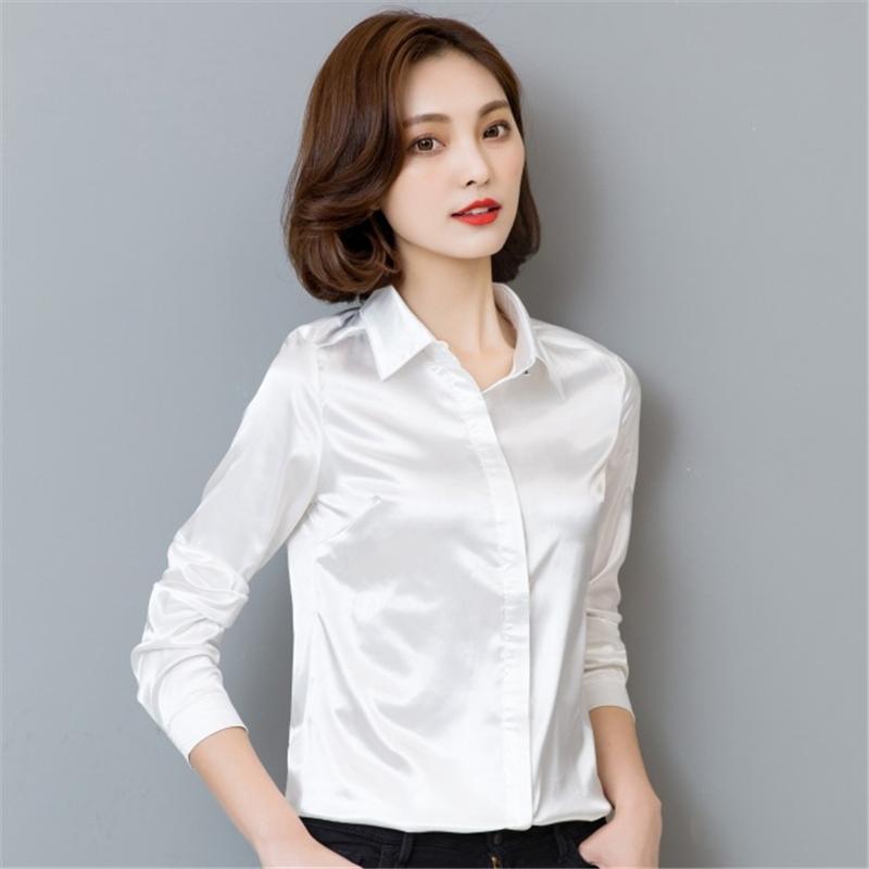 Женщины с длинным рукавом рубашки Формальное сатин работы Бизнес Управление леди Блуза моды Top Solid 7 цветов отложной воротник рубашки
