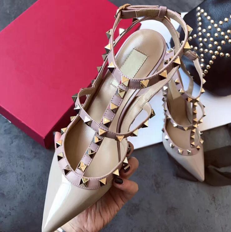 Valentino sandals дизайнера Сексуальной леди мода Марка Женщина мода шипованных шипы точка схождение ремешки на высоких каблуках невест свадебных туфель конфорок обувь xshfbcl