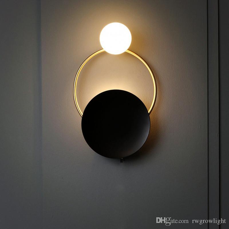 Nordic retro de noche lámpara de pared Art LED de latón Foyer dormitorio fondo del pasillo del restaurante aplique de la pared enciende el envío libre - I154