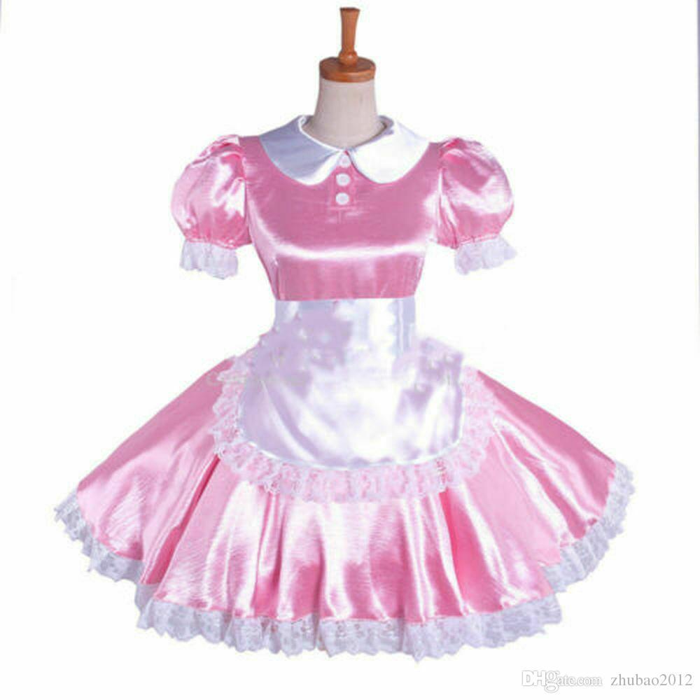 rosa Sissy Maid Dress raso Uniforme bloccabile cosplay su misura