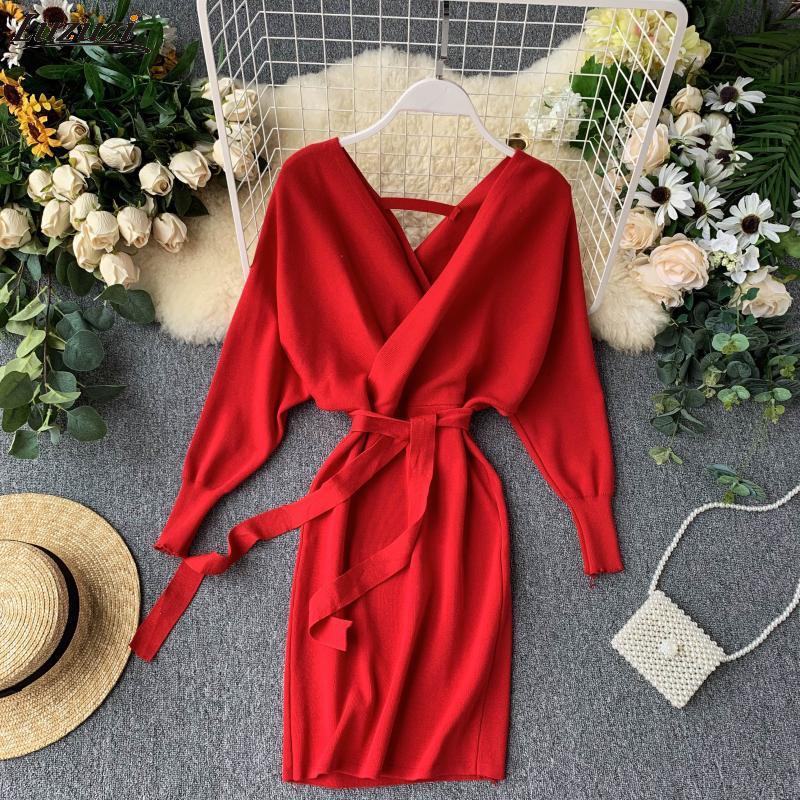 Luzuzi Automne Hiver Femmes Robe en maille chandail 2020 Nouvelle-coréen long Batwing manches col V Robe élégante dames Robe Bandage MX200804
