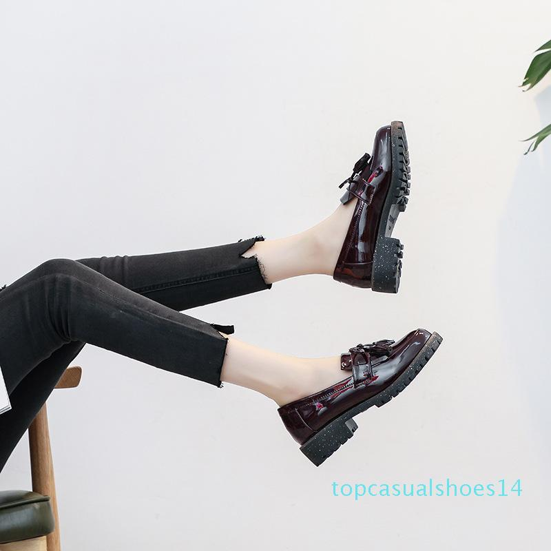 Patent leather fringe loafers women Autumn Flats Ladies Elegant Low Heels Slip On Pointed Toe Moccasins Shoes Plus Size t14