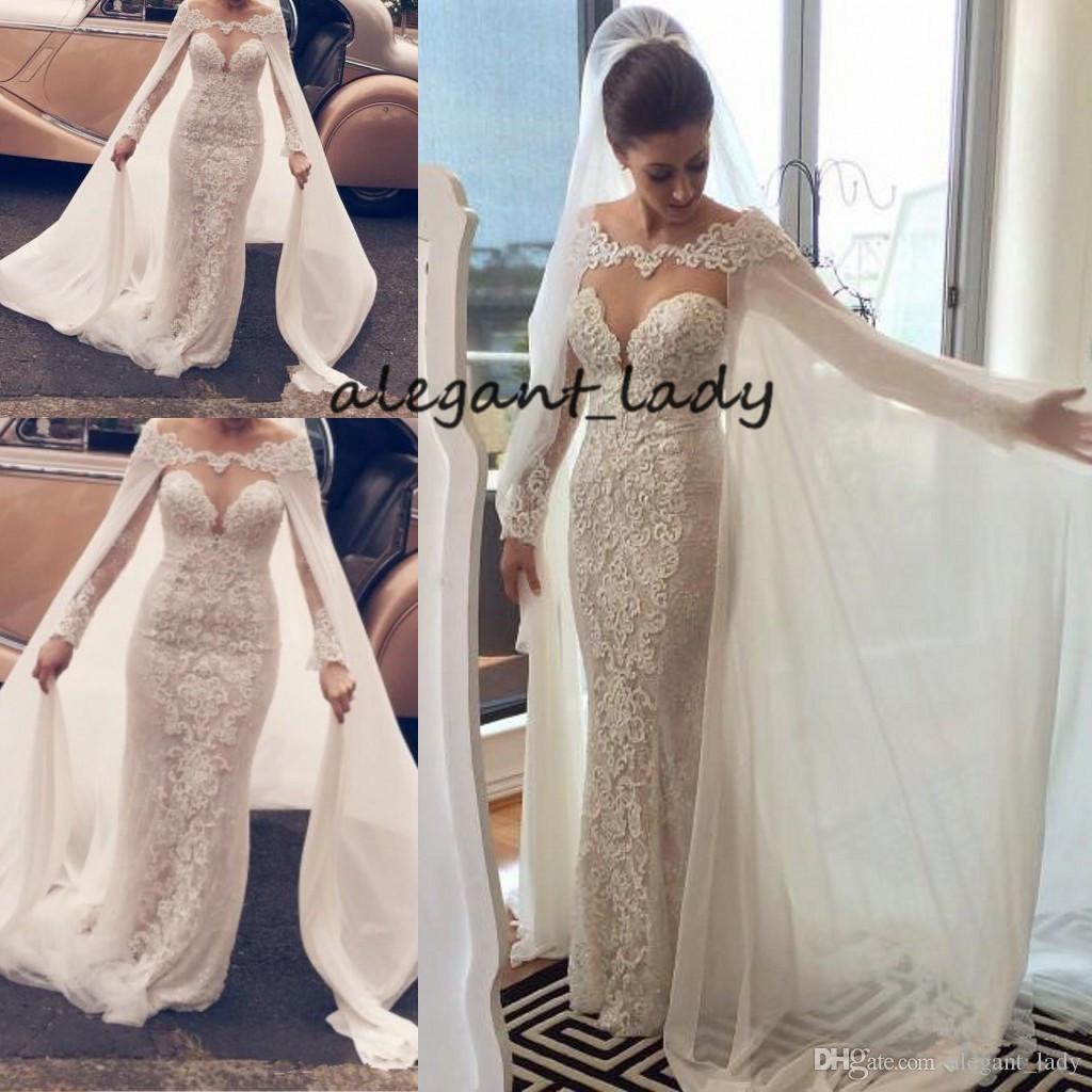 우아한 롱 슬리브 웨딩 드레스 랩 케이프 깎아 지른 보석 목걸이 라인 아플리케 Tulle 머메이드 2019 세련된 섹시한 신부의 드레스
