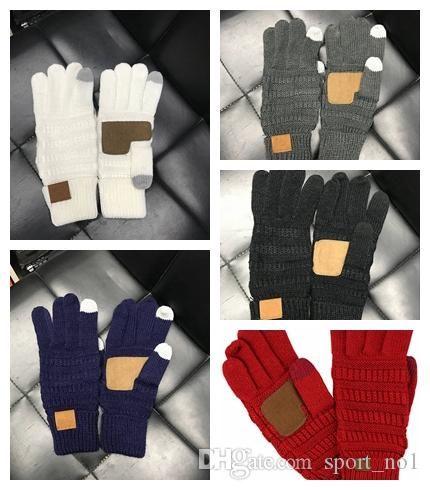 Kapazitive Knitting Touch Screen-Handschuh-Frauen-Winter-Handschuhe warme Handschuhe Antiskid Strick Telefingers Glove Weihnachtsgeschenke AAA1491