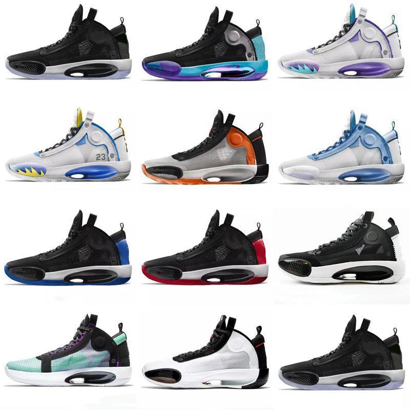 2020 34 Mavi Void Eclipse 34s Erkek Basketbol Ayakkabı Kar Leopar Yeşil Glow Siyah AR3240-400 Uçuş Eğitmenleri Sneakers 40-46
