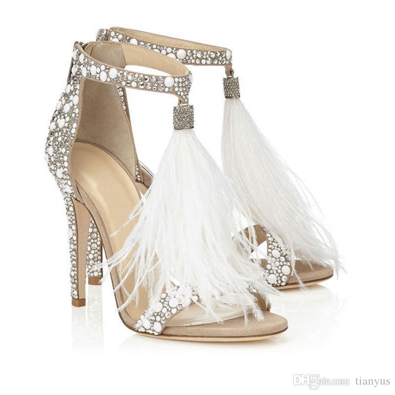 Mulheres Sandálias Bombas 2019 Verão Ladies White Feather Franjas Strass Sandálias De Salto Alto Cristais de Noiva Sapatos De Casamento Plus Size Q-197