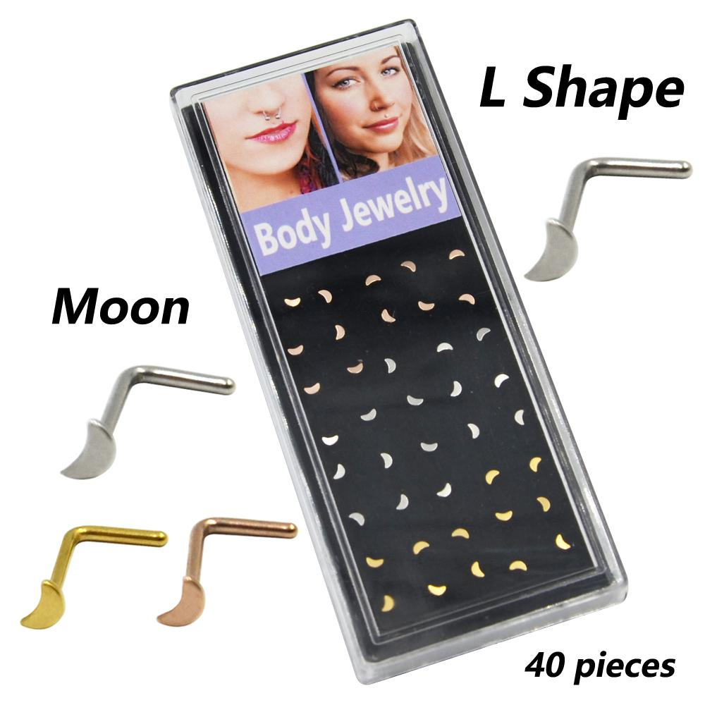 20G Dainty Crescent Moon Icon L-Shaped Nose Ring Piercing Nose Stud Body Jewelry 40pieces Box Set-Heart,Moon,Star,Ball Designs
