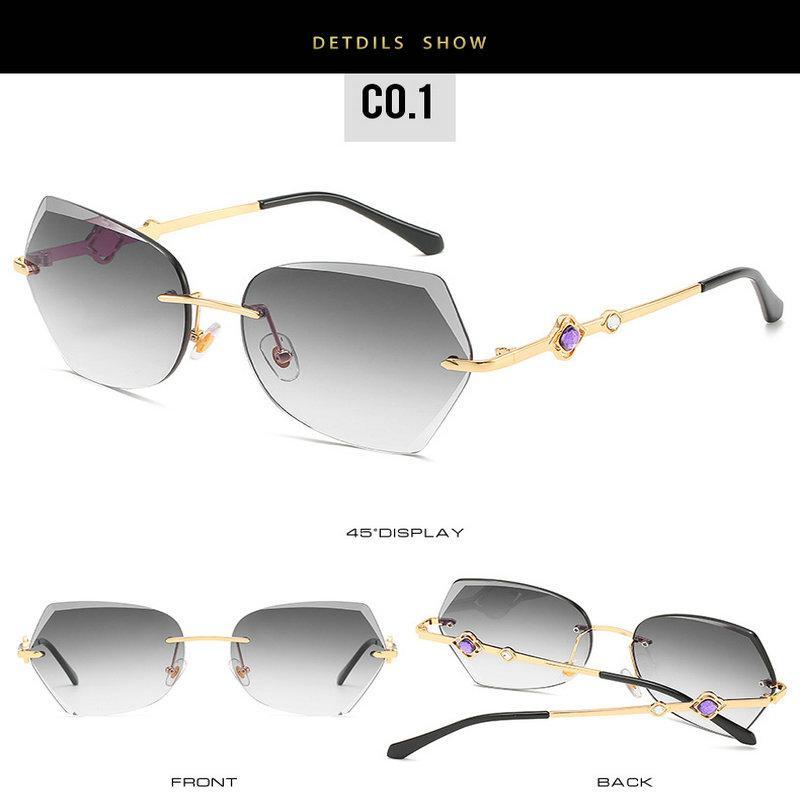 Getrimmten randlos Sonnenbrillen Randlos-Sonnenbrille-Frauen 2018 Marke Irregular getrimmten Brillen Blume Metallrahmen Sonnenbrillen weiblich UV400 l6MhR s