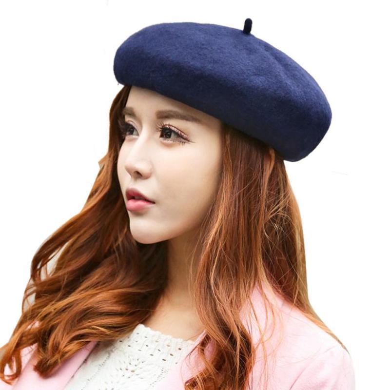 Les chapeaux d'hiver de femme mélange élégant Artiste solide Beret Chapeau chaud confortable Chapeau Beret chapeau simple, solide chapeau femme 56-58cm
