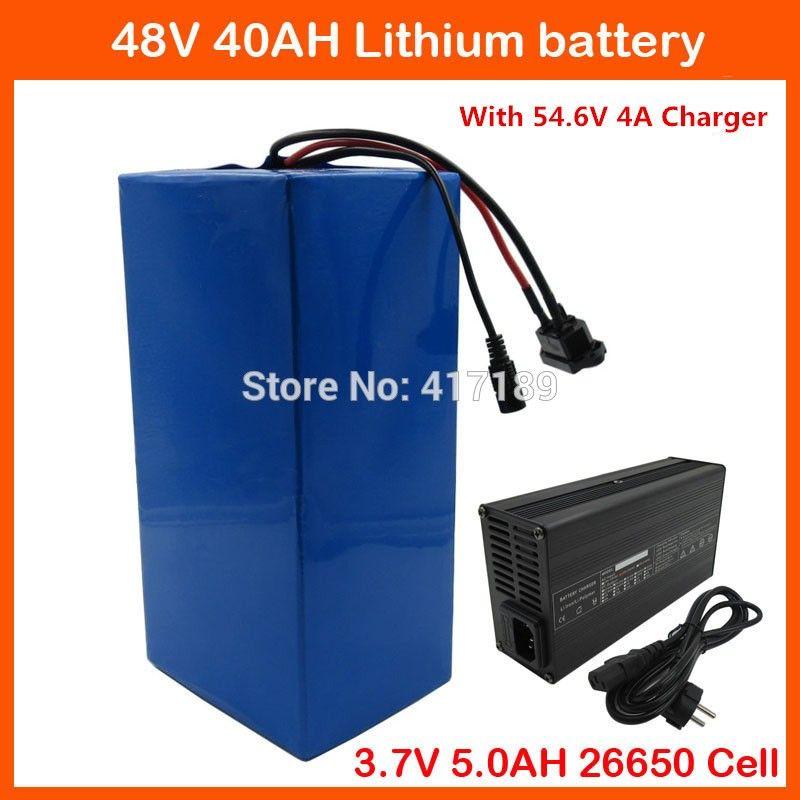 2000W 48V 40AH электрическая батарея лития 3.7 V велосипеда 5.0 AH 26650 клетка 48V 40ah Li-Ион Ebike батарея 50A BMS + 54.6 V 4A быстрый заряжатель