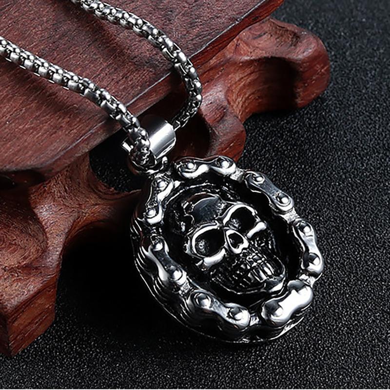 العتيقة الفضة اللون الجمجمة قلادة القلائد شخصية الهيب هوب دراجة نارية سلسلة روك قلادة للرجال فايكنغ مجوهرات أوم