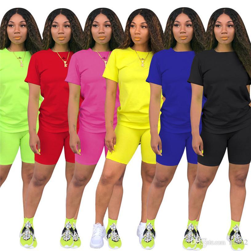Mujeres S-3XL Set de 2 unidades de chándal camisetas + traje pantalón corto del basculador Trajes sólidas del tamaño del verano ocasionales de Cothes Sweatsuit Moda Ropa de deporte 2654