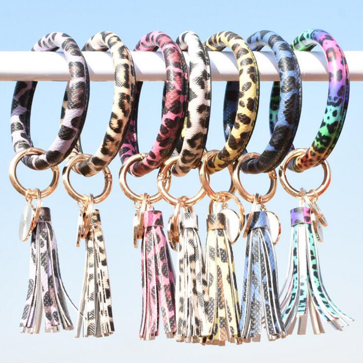 Leather Wrap Tassels Bracelets Keychain Custom Wristlet Bracelet Tassel Keychain Leopard Print Bangle Round Bangle Key ring