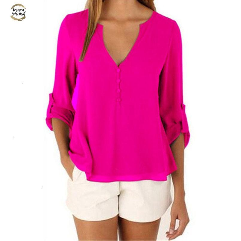 Marca Moda Blusa Pescoço V Sexy Plus Size roupas baratas China Blusas Feminina Roupa Verão Mulheres Tops pulôver Blusas