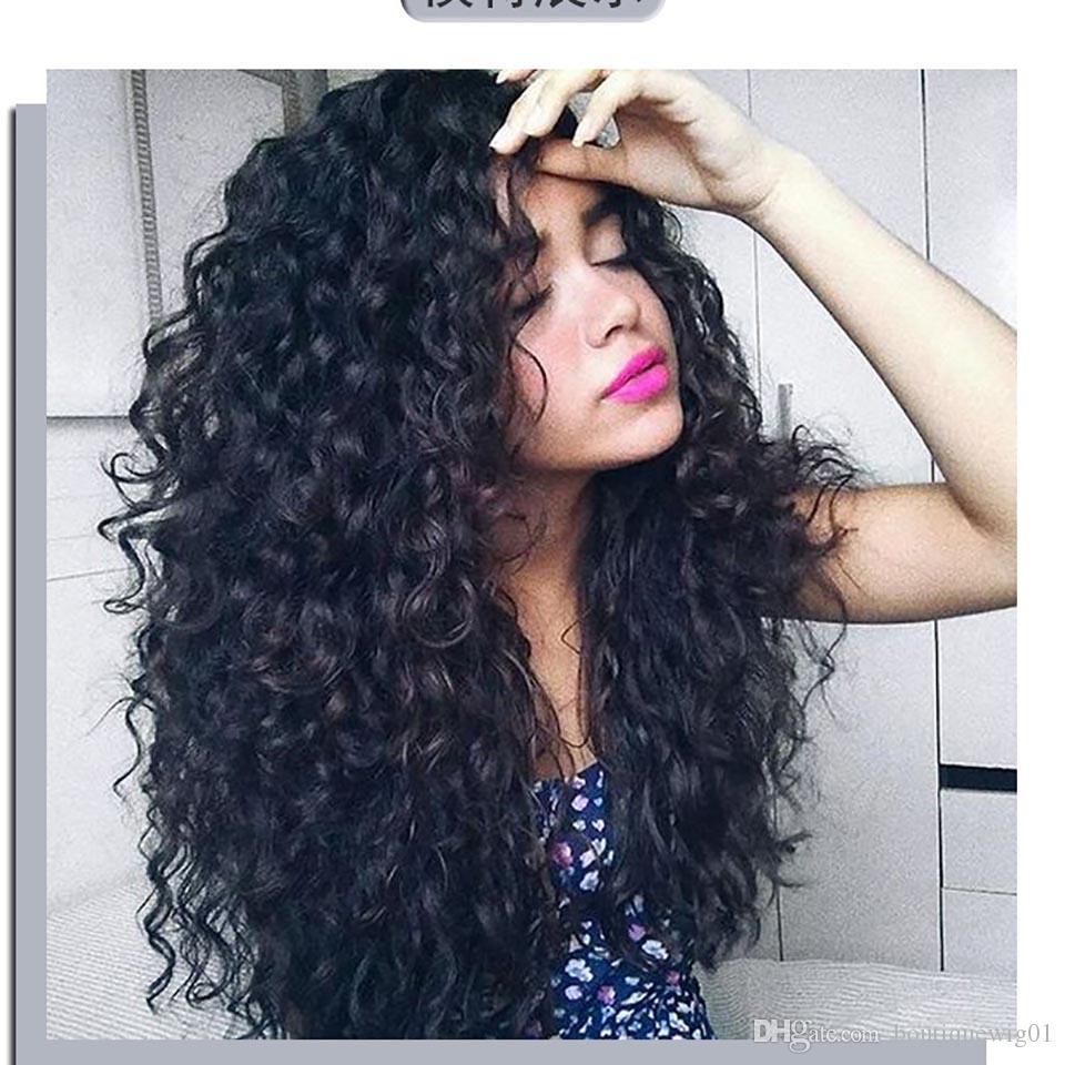 vendita calda afro crespi capelli umani parrucche capelli ricci sintetici di qualità parrucca del merletto umana piena parrucche femminili scoppi parrucca soffici capelli lunghi ricci
