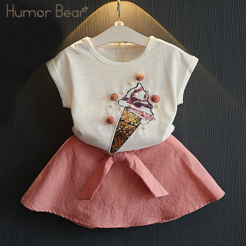 Humor Bear Summer Fashion Lovely Ice Cream Baby Girls Clothes Kids Clothes Party Dresses Girl Dress Clothing Set Girls Suit Y190518