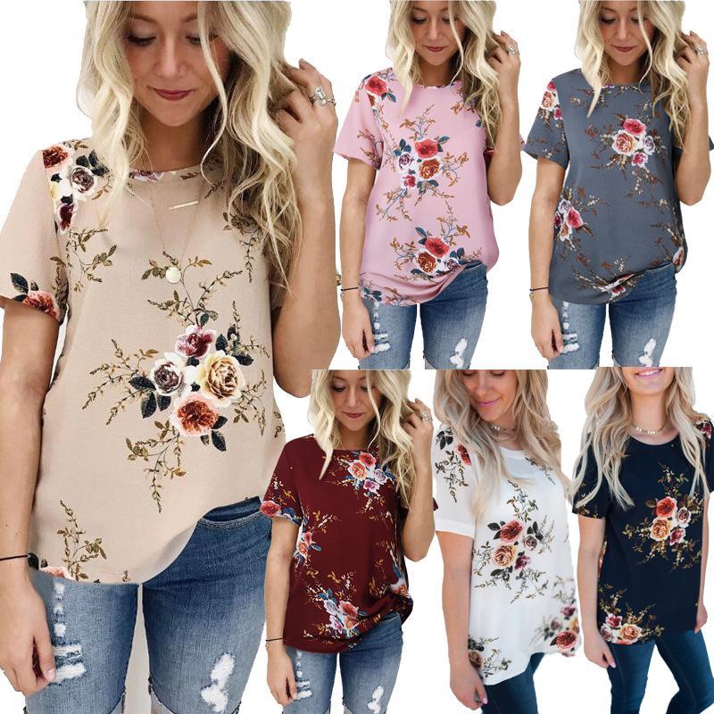 Цветочный принт футболка женщина O шеи с коротким рукавом лето женщины футболка повседневная свободные топ дамы шифон материнства топы футболки W0956879