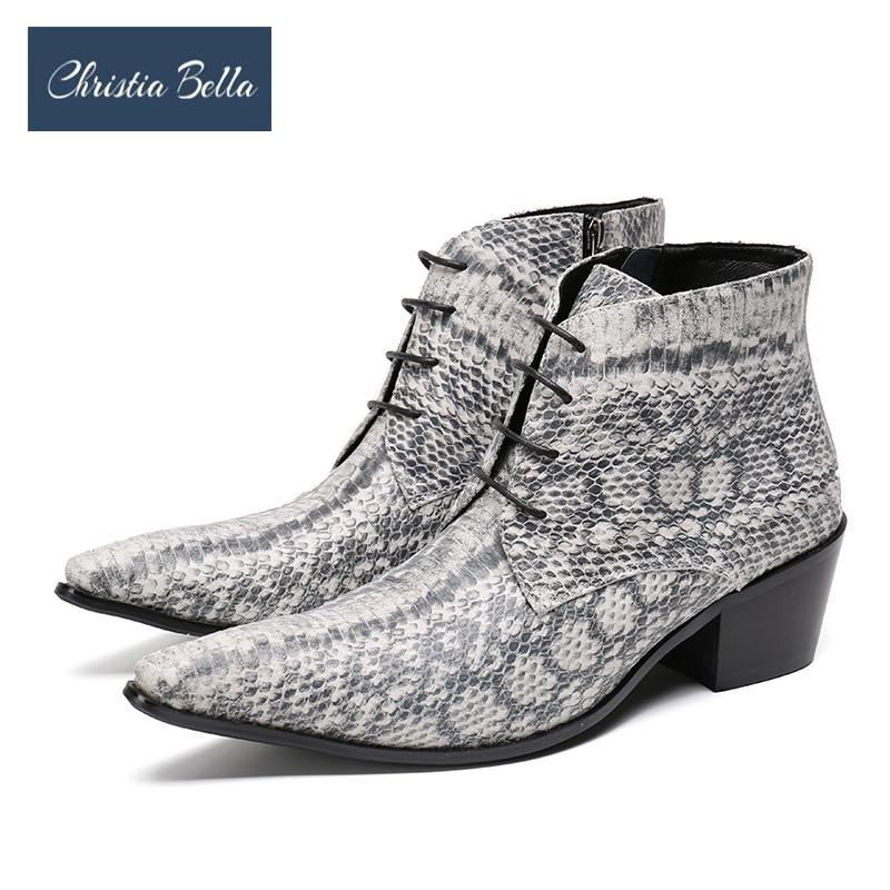 Christia Bella Winter Snake Skin Men Shoes Genuine Leather Boots Fashion Pointed Toe Boots Large Size Ankle Lace up