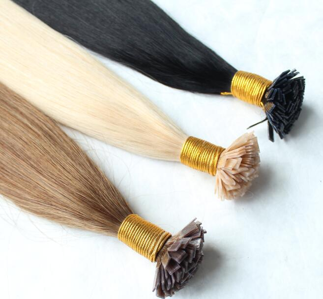100g plana Cabelo / embalar Pré Bonded italiano queratina extensões do cabelo liso 100% Duplo Drawn Europeia Remy Cabelo Humano