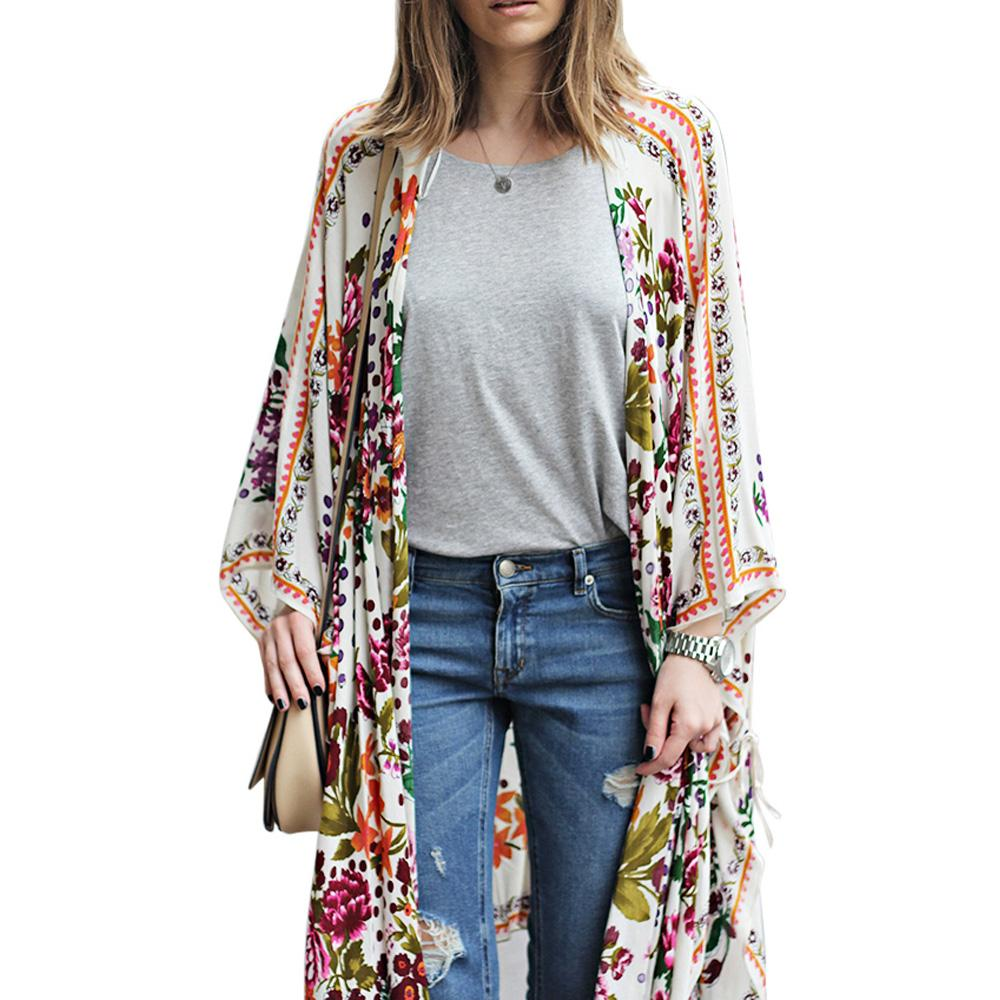 Zexxxy Summer Floral Pattern Tops 3/4 Batwing Sleeve Open Boho Chiffon Coat